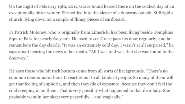 Screen Shot of paragraphs from original Irish Times piece by Michael Kealy
